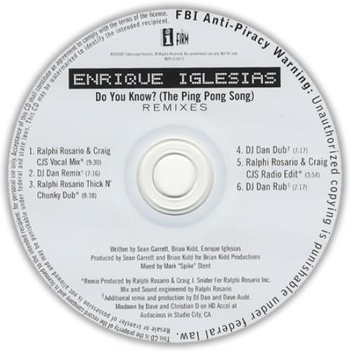 Enrique Iglesias Do you know the ping pong song (Vinyl ...