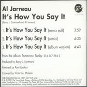 Click here for more info about 'Al Jarreau - It's How You Say It'