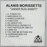 Alanis Morissette Under Rug Swept UK CD-R acetate Promo
