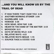 And You Will Know Us By The Trail Of Dead And You Will Know Us... UK CD-R acetate Promo