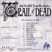 And You Will Know Us By The Trail Of Dead The Century Of Self USA CD-R acetate Promo