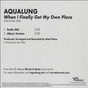 Click here for more info about 'Aqualung - When I Finally Get My Own Place'