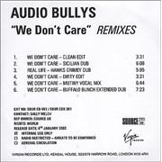 Audio Bullys We Don't Care UK CD-R acetate Promo