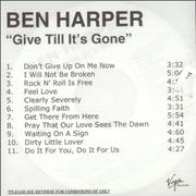 Click here for more info about 'Ben Harper - Give Till It's Gone'