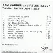 Click here for more info about 'Ben Harper - White Lies For Dark Times'