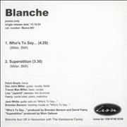 Click here for more info about 'Blanche - Who's To Say...'
