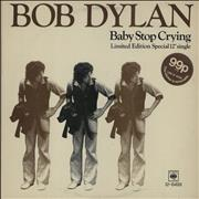 "Bob Dylan Baby Stop Cryin' - Stickered sleeve UK 12"" vinyl"