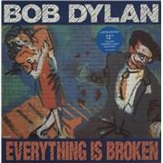 "Bob Dylan Everything Is Broken + Print UK 12"" vinyl"