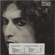 Bob Dylan Hard Rain - Timing Strip USA vinyl LP Promo