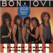 """Bon Jovi Livin' On A Prayer - Green Vinyl - EX UK 12"""" vinyl"""