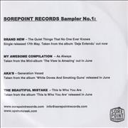 Click here for more info about 'Brand New - Sorepoint Records Sampler No. 1'