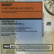 Click here for more info about 'Brandy - U Don't Know Me (Like U Used To)'