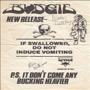 Click here for more info about 'Budgie - Signed Handbill'