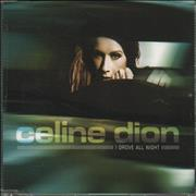 Celine Dion I Drove All Night Europe CD single Promo
