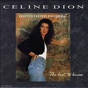 "Celine Dion The Last To Know - Poster Slv UK 7"" vinyl"