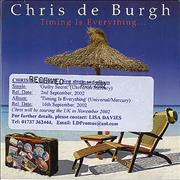 Click here for more info about 'Chris De Burgh - Timing Is Everything - Promo'