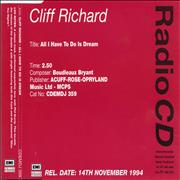 Click here for more info about 'Cliff Richard - All I Have To Do Is Dream - Withdrawn'