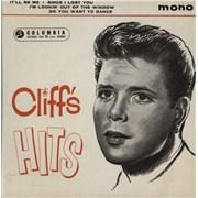 """Cliff Richard Cliff's Hits - 1st - VG UK 7"""" vinyl"""