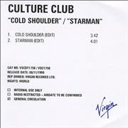 Click here for more info about 'Culture Club - Cold Shoulder/Starman'