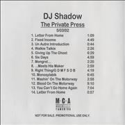 Click here for more info about 'DJ Shadow - The Private Press'