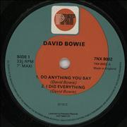 "David Bowie Do Anything You Say - Red/green Label UK 7"" vinyl"