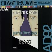 """David Bowie Jump They Say - Leftfield Remixes - Stickered UK 12"""" vinyl Promo"""