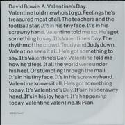 Click here for more info about 'David Bowie - Valentine's Day'