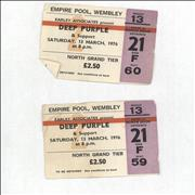 Click here for more info about 'Deep Purple - Empire Pool, Wembley 1976 Ticket Stubs'
