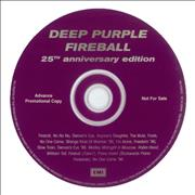 Deep Purple Fireball - 25th Anniversary Edition UK CD album Promo