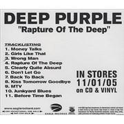 Deep Purple Rapture Of The Deep USA CD-R acetate Promo