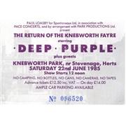 Deep Purple The Return Of The Knebworth Fair UK concert ticket