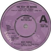 "Deep Purple You Keep On Moving - A Label UK 7"" vinyl Promo"