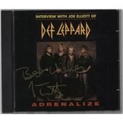 Def Leppard Adrenalize Interview - Autographed USA CD album Promo