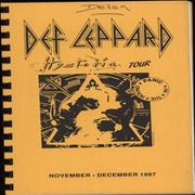 Def Leppard Hysteria Tour 1987/88 - Five UK Itinerary