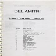 Del Amitri Euro Tour - May/June 1995 Tour Itinerary UK Itinerary