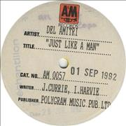 "Del Amitri Just Like A Man - Test Pressing UK 7"" vinyl Promo"