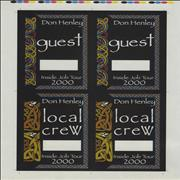 Click here for more info about 'Don Henley - Inside Job Tour Passes - Uncut Sheets'