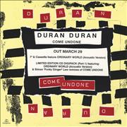 Click here for more info about 'Duran Duran - Come Undone - Display Card'