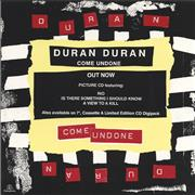 Click here for more info about 'Duran Duran - Come Undone - Out Now - Display Card'