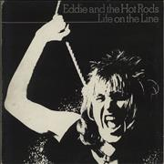 Click here for more info about 'Eddie And The Hot Rods - Life On The Line + Insert - Blue Label'