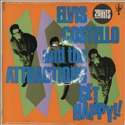 Elvis Costello Get Happy - Stickered Sleeve + Poster - EX UK vinyl LP