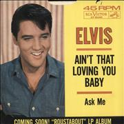 "Elvis Presley Ain't That Loving You Baby USA 7"" vinyl"