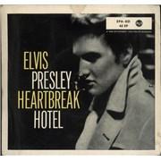 "Elvis Presley Heartbreak Hotel - no dog/triangular centre Germany 7"" vinyl"
