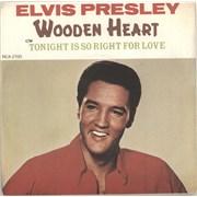 """Elvis Presley Wooden Heart - Solid Centre UK 7"""" vinyl"""