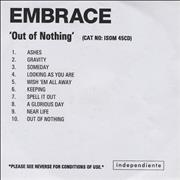 Click here for more info about 'Embrace - Out Of Nothing'