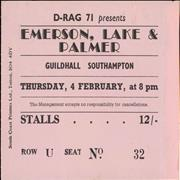 Click here for more info about 'Emerson Lake & Palmer - Guildhall Southampton Ticket Stub'