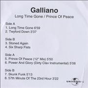 Click here for more info about 'Galliano - Long Time Gone/Prince Of Peace'