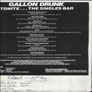 Click here for more info about 'Gallon Drunk - Tonite... The Singles Bar - White Label'
