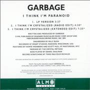 Garbage I Think I'm Paranoid USA CD single Promo