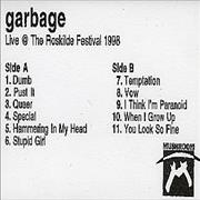 Garbage Live At The Roskilde Festival 1998 UK cassette album Promo
